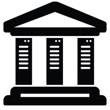Image of a classical building with server racks for columns